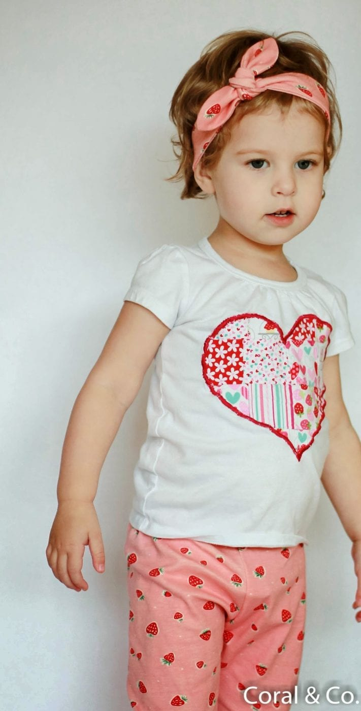 Valentines Day Outfit with Organic Strawberry Leggings and a Patchwork Heart T-shirt. Made by Coral & Co. (3 of 14)