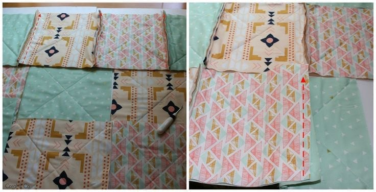 How to sew a rag quilt. Sew the seams together