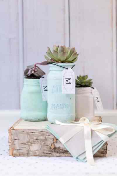 DIY Mother's Day Mason Jar Planter and a Free Printable Gift Tag