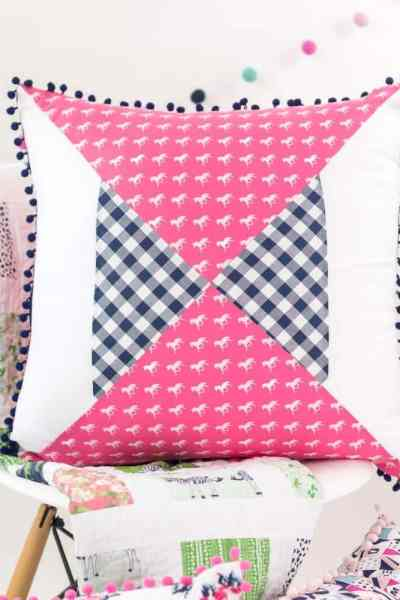Quilted Pillow Pattern: Modern Hourglass + Derby Day Fabrics
