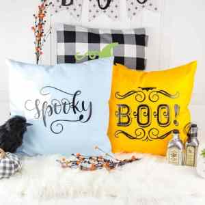 Easy DIY Halloween Iron on Pillows