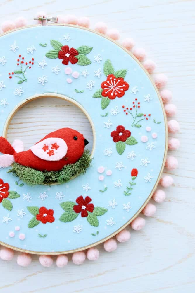 Winter Floral Embroidery Hoop Wreath |