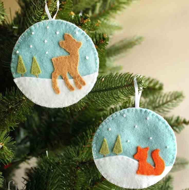 Deer and Fox Felt Christmas Ornaments