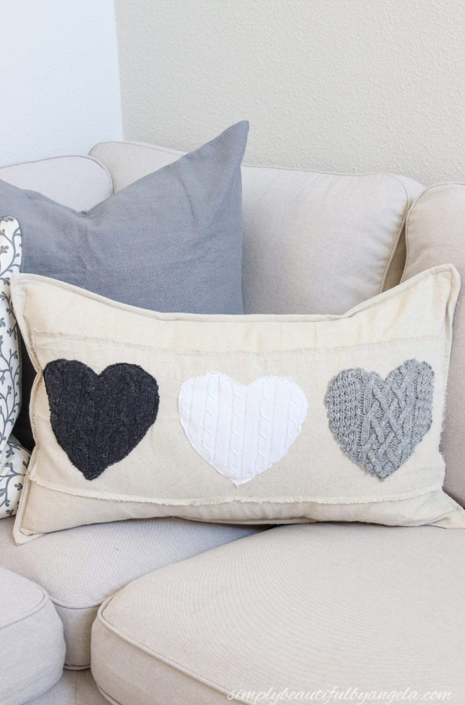 DIY Valentine's Day Pillow Covers Using Sweaters