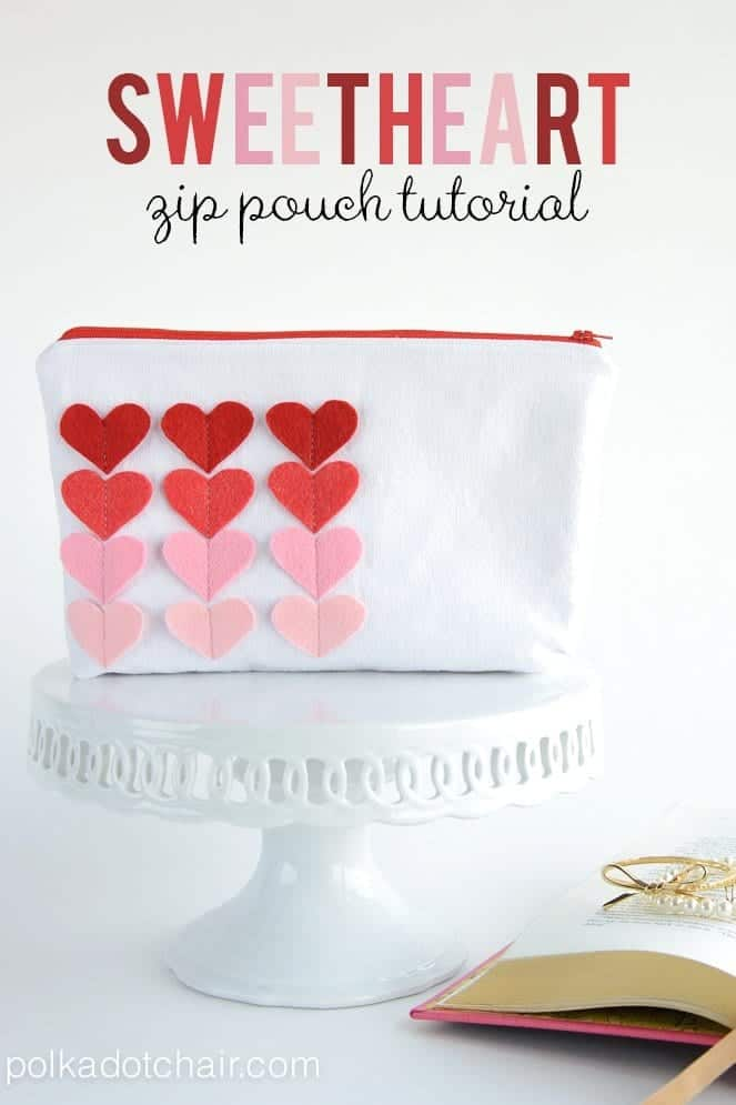 Sweet Heart Zip Pouch: Valentine's Day Sewing Projects