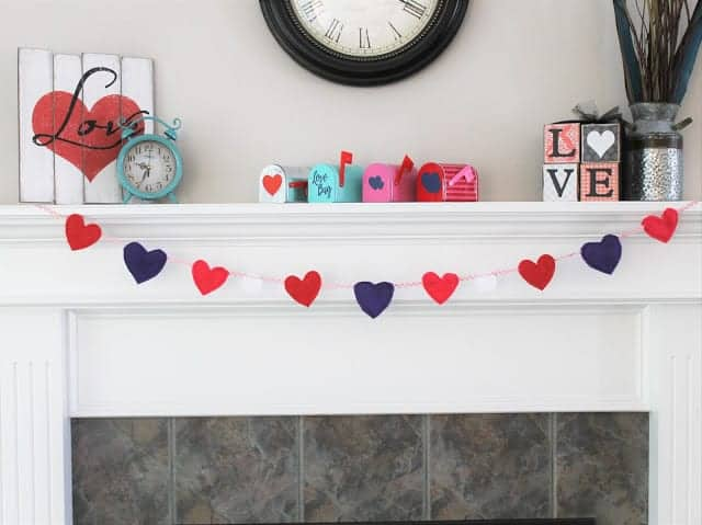 Easy Felt Heart Garland Template + No Sew Option