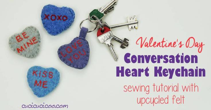 Conversation Heart Valentine's Day Keychain Sewing Tutorial