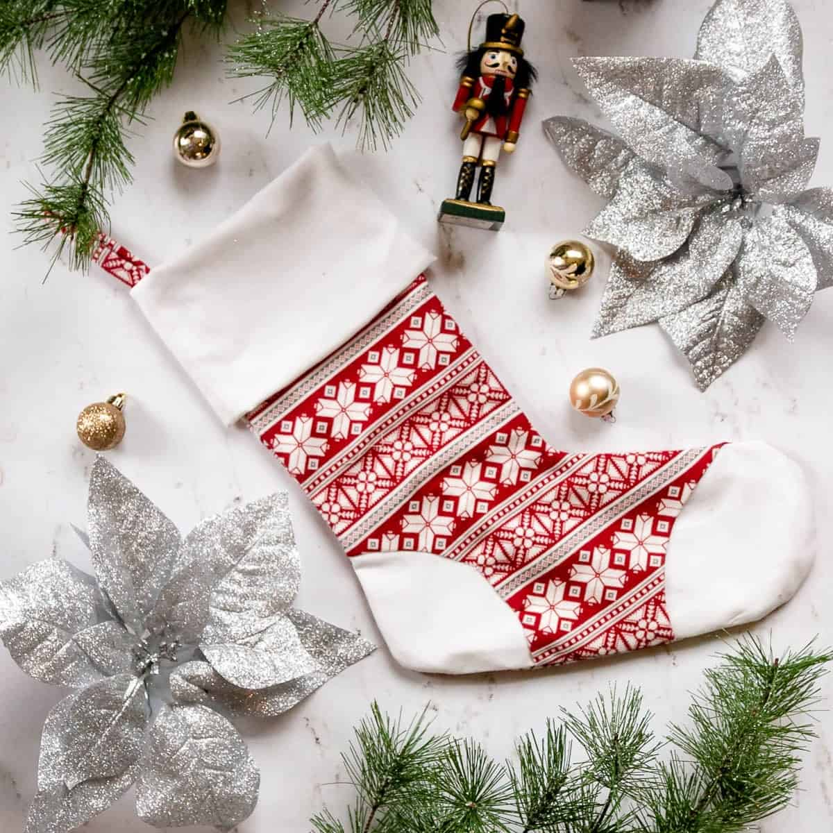 Christmas Stocking with Toe Patch - Free Sewing Pattern