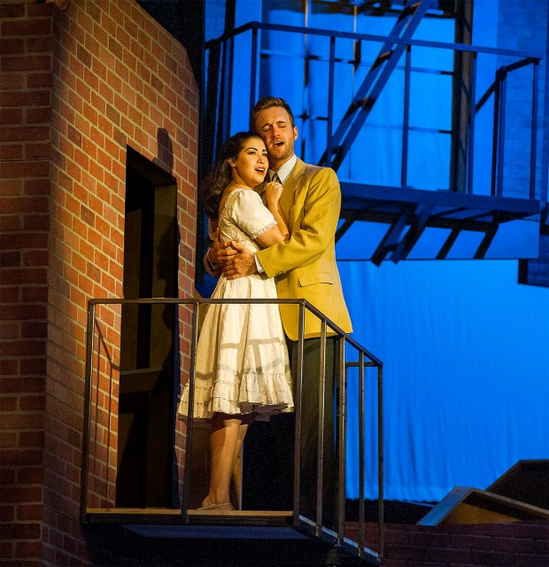 Sarah Amengual as Maria and Tim Quartier as Tony in Actors' Playhouse at the Miracle Theatre's production of West Side Story. Photo by George Schiavone.