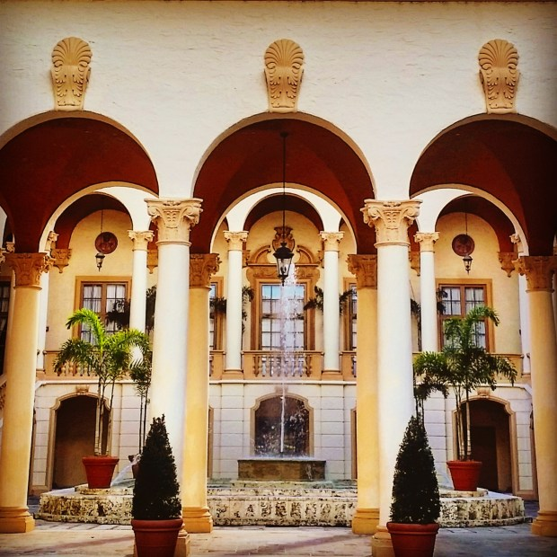The Biltmore Spanish Courtyard is one of the most popular locations for engagement photos due to its romantic arches.