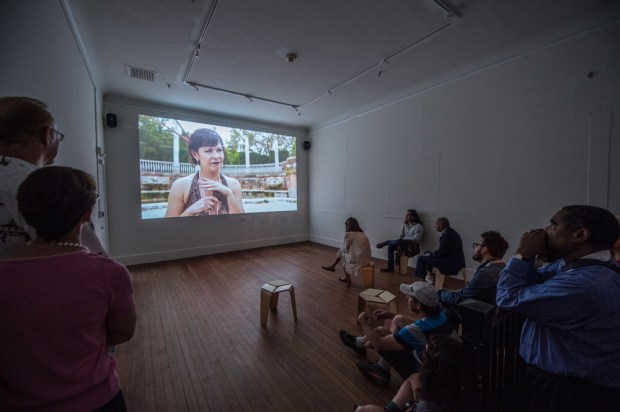 Lost Spaces Art Show at Vizcaya Museum participating artist Magnus Sigurdarson screens his telenovela installation.