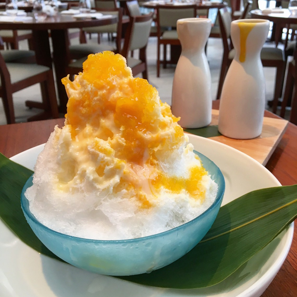 Nobu Miami at Eden Roc Hotel prix-fixe menu Mt. Fiji shaved ice dessert with Mango Sauce, Condensed Milk and Yogurt - this is AMAZING!