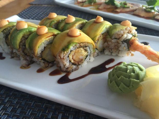 Budda-cane roll, with shrimp tempura, mango, and sugarcane soy, from Sushi Maki in Coral Gables. Click to read more or Pin and save for later.
