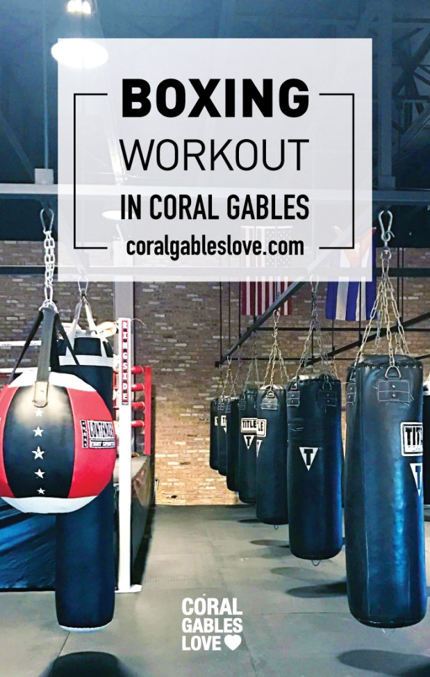 Boxing gym workout in Coral Gables, Florida. Miami fitness.
