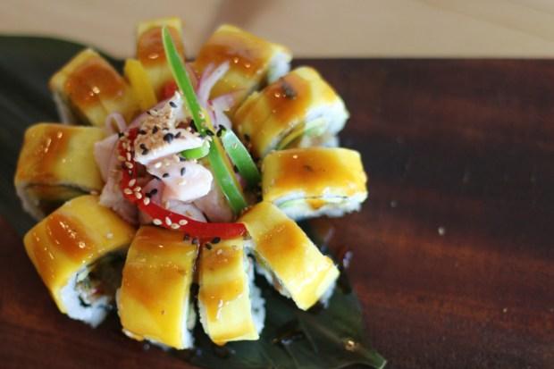 Sushi Kong Mango Tango sushi roll with ceviche. Miami restaurant near Goral Gables, Florida.
