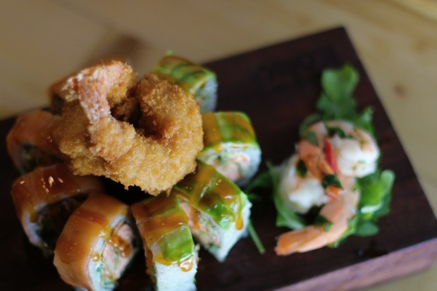 Sushi Kong Romeo and Juliet sushi roll with shrimp tempura. Miami restaurant near Goral Gables, Florida.