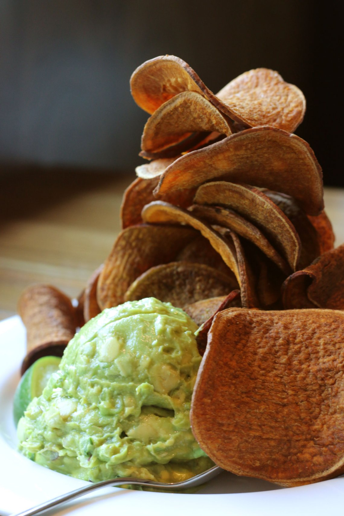 Doc B's Coral Gables guacamole with sweat potato chips