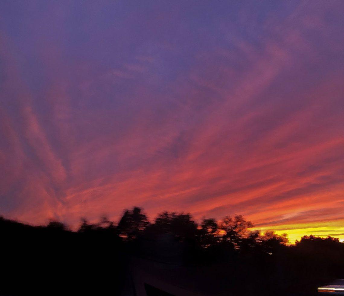 Sunset over catskill mountains new york