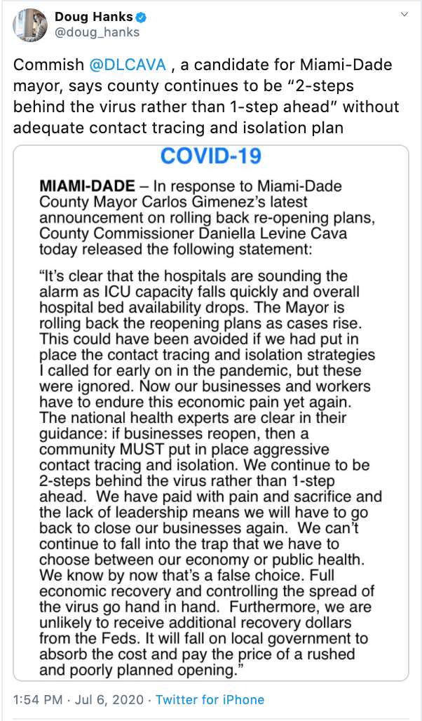 Danielle Levine Cava response to Miami Dade Emergency Order rolling back restaurant and gym openings