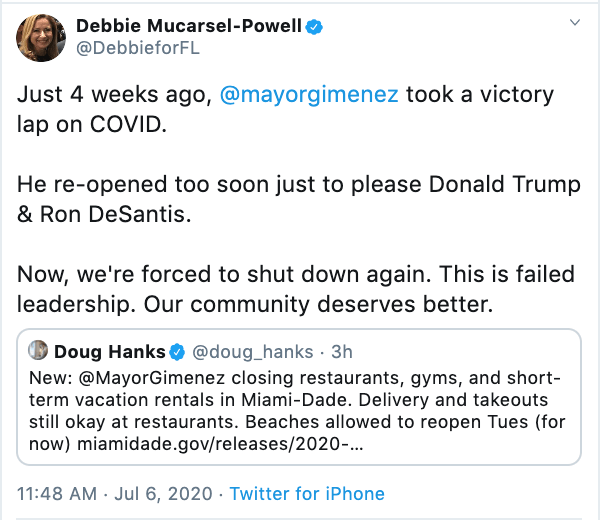 Debbie Murcasel-Powell response to Miami Dade Emergency Order rolling back restaurant and gym openings
