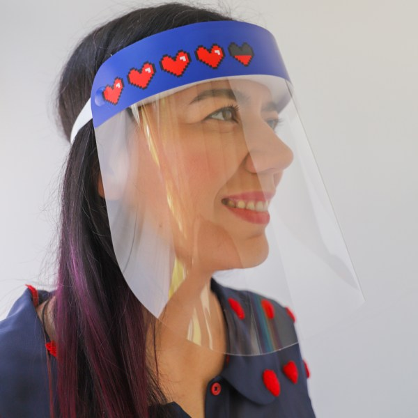 Video Game Hearts Face Shield in stock and ready to ship from Miami, Florida USA
