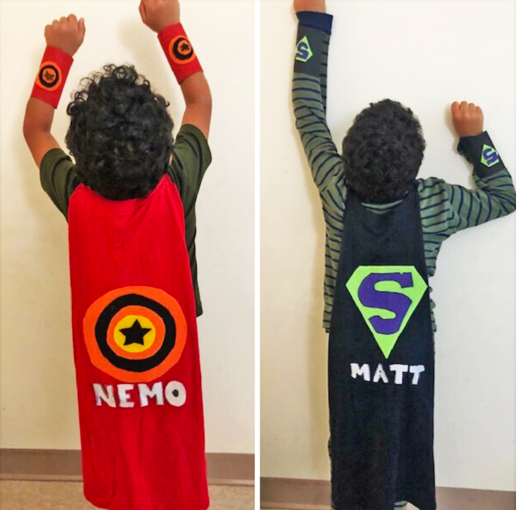 Kids Activities at Home Crafting super hero cape and cuffs