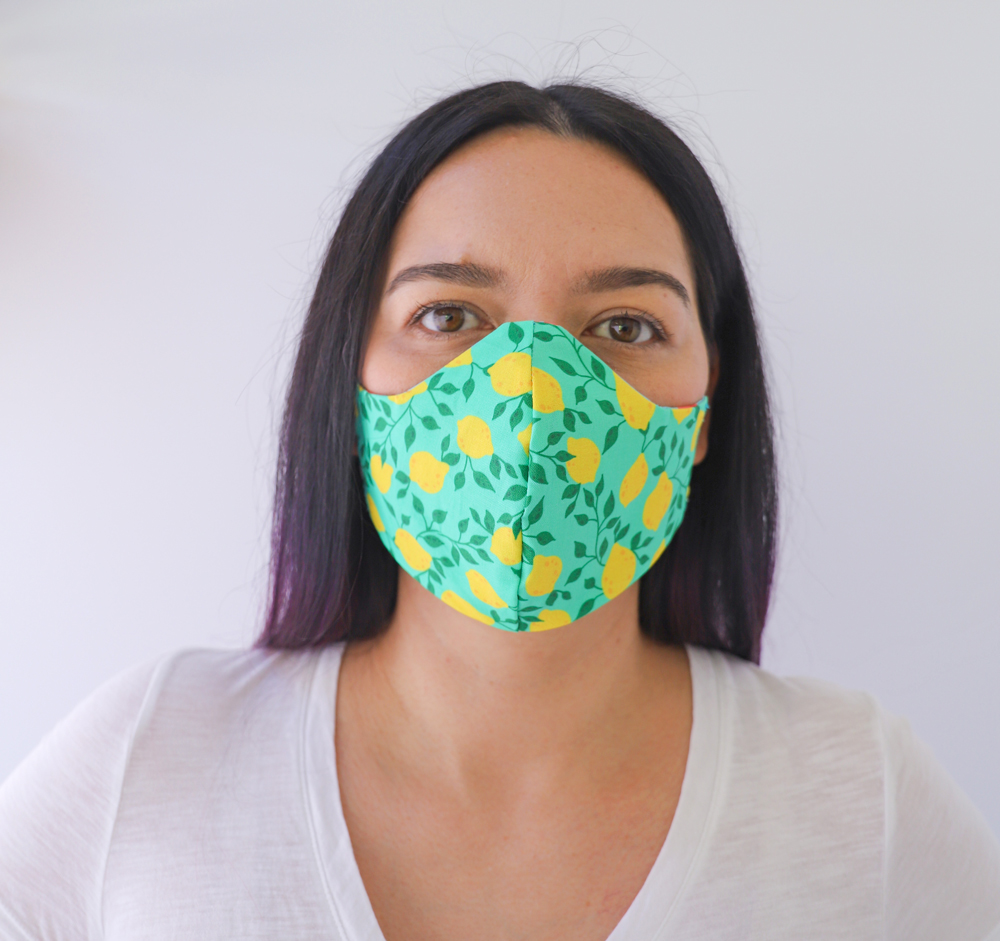 Lemons Reversible, double Sided Cotton Washable Adult Face Mask,Breathable Reversible Mask,Handmade in USA Face Mask