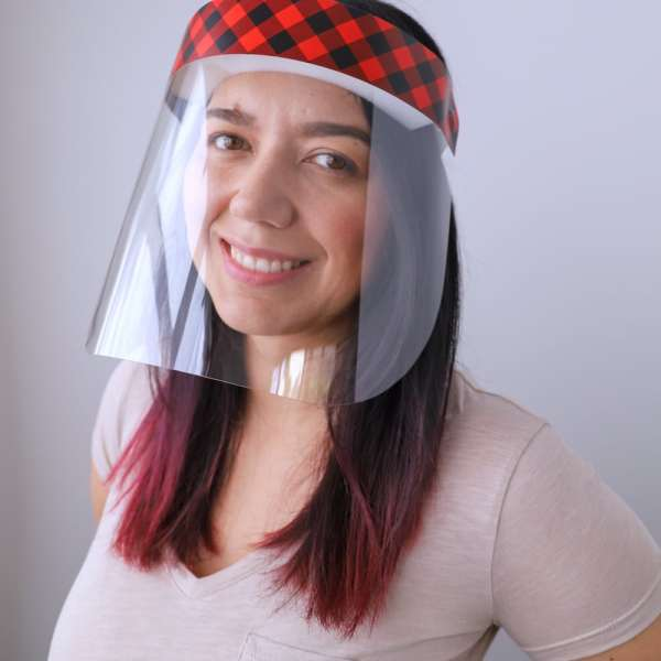Buffalo Plaid Protective Face Shield with Holiday Plaid Design