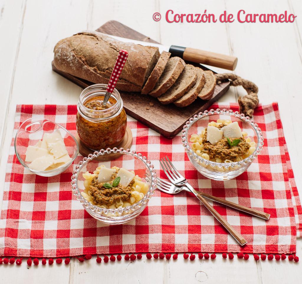 Pasta con pesto de tomates secos receta italiana