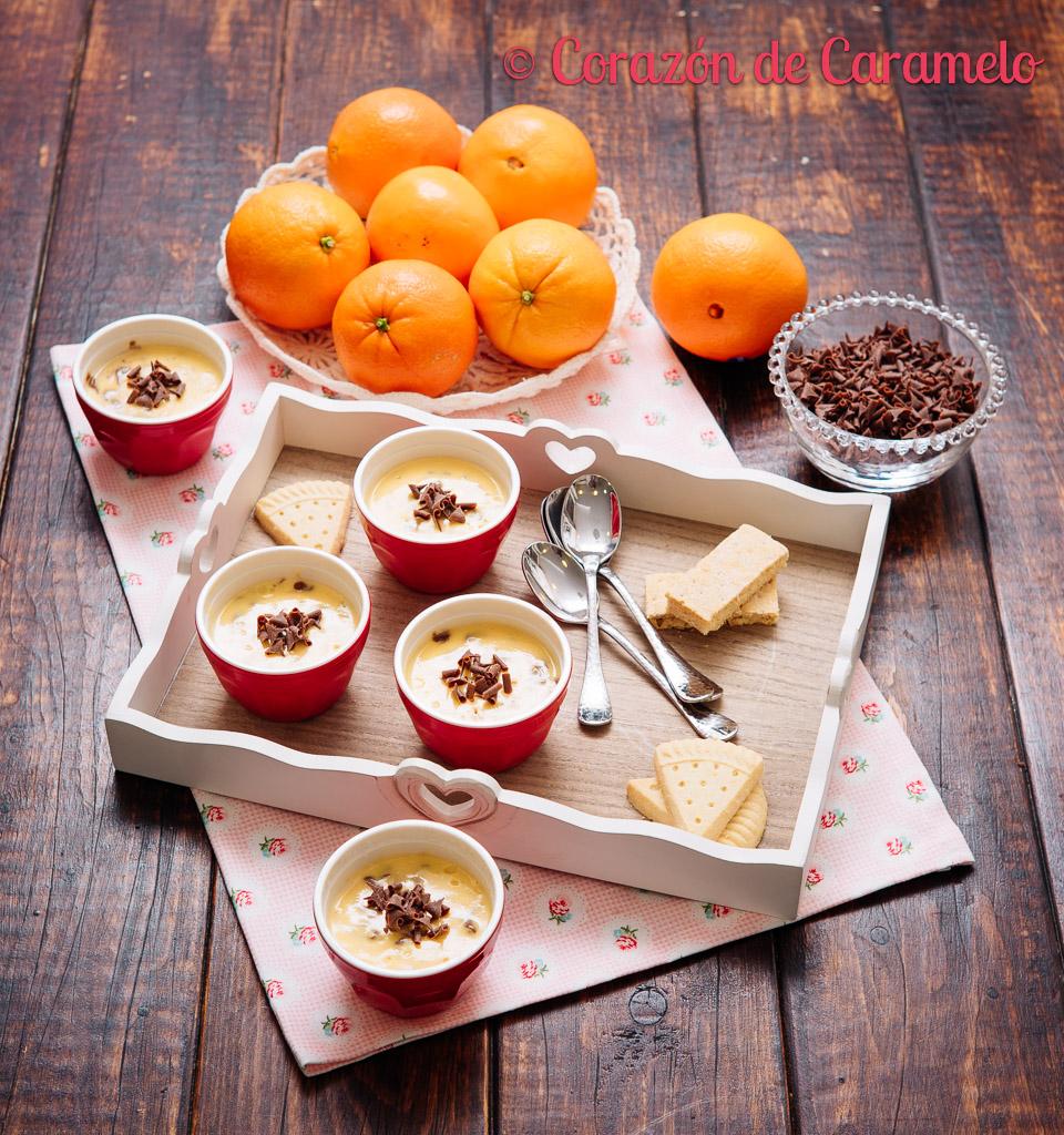 Natillas caseras de naranja y chocolate