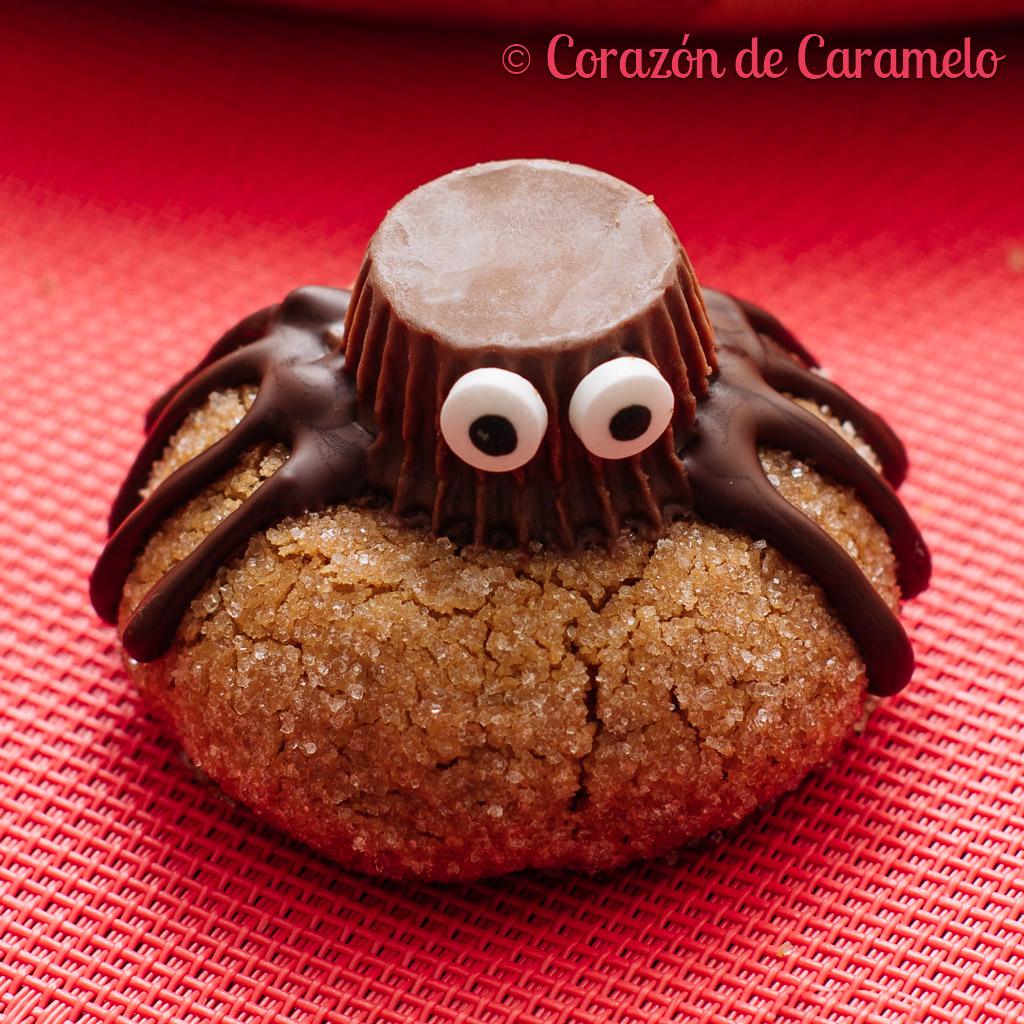 Galletas araña para Halloween