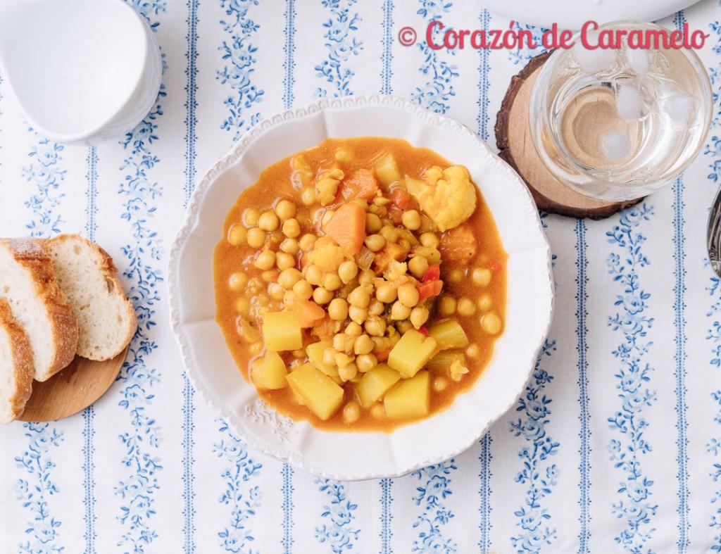 Curry de garbanzos Receta vegetariana