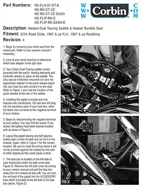corbin motorcycle seats accessories hd electra glide 800-538-7035