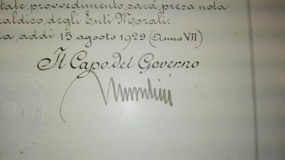 Dagli archivi spunta l'autorizzazione allo Stemma Civico. Era il 1929 ed a firmarlo fu Mussolini 2