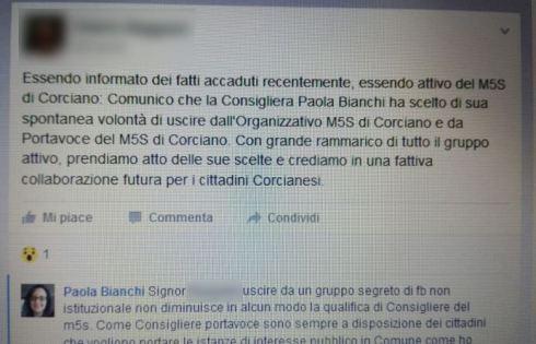 """CorcianoLeaks: esce dal gruppo segreto di Facebook, consigliera comunale M5S """"invitata"""" a dimettersi 2"""