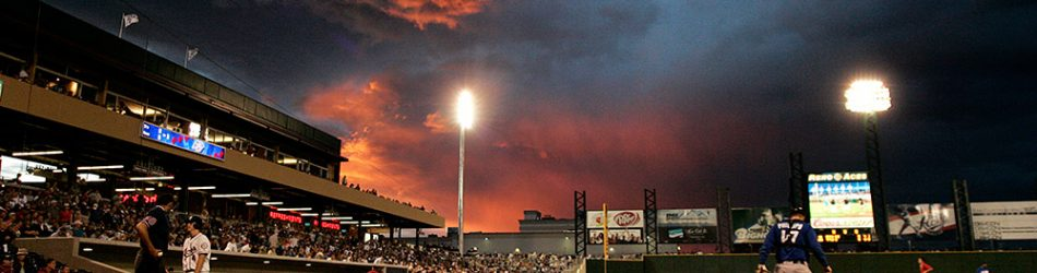 Photo by John Schreiber/RGJ The sun sets against clearing storm clouds above Aces Ballpark Saturday, July 11, 2009 during the Aces' game against the Las Vegas 51's.
