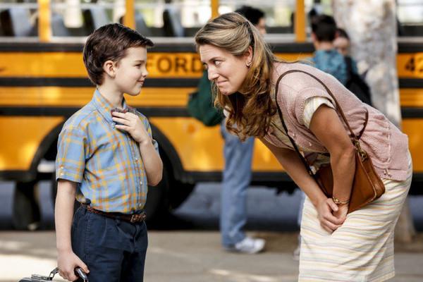 boy talking to his mom