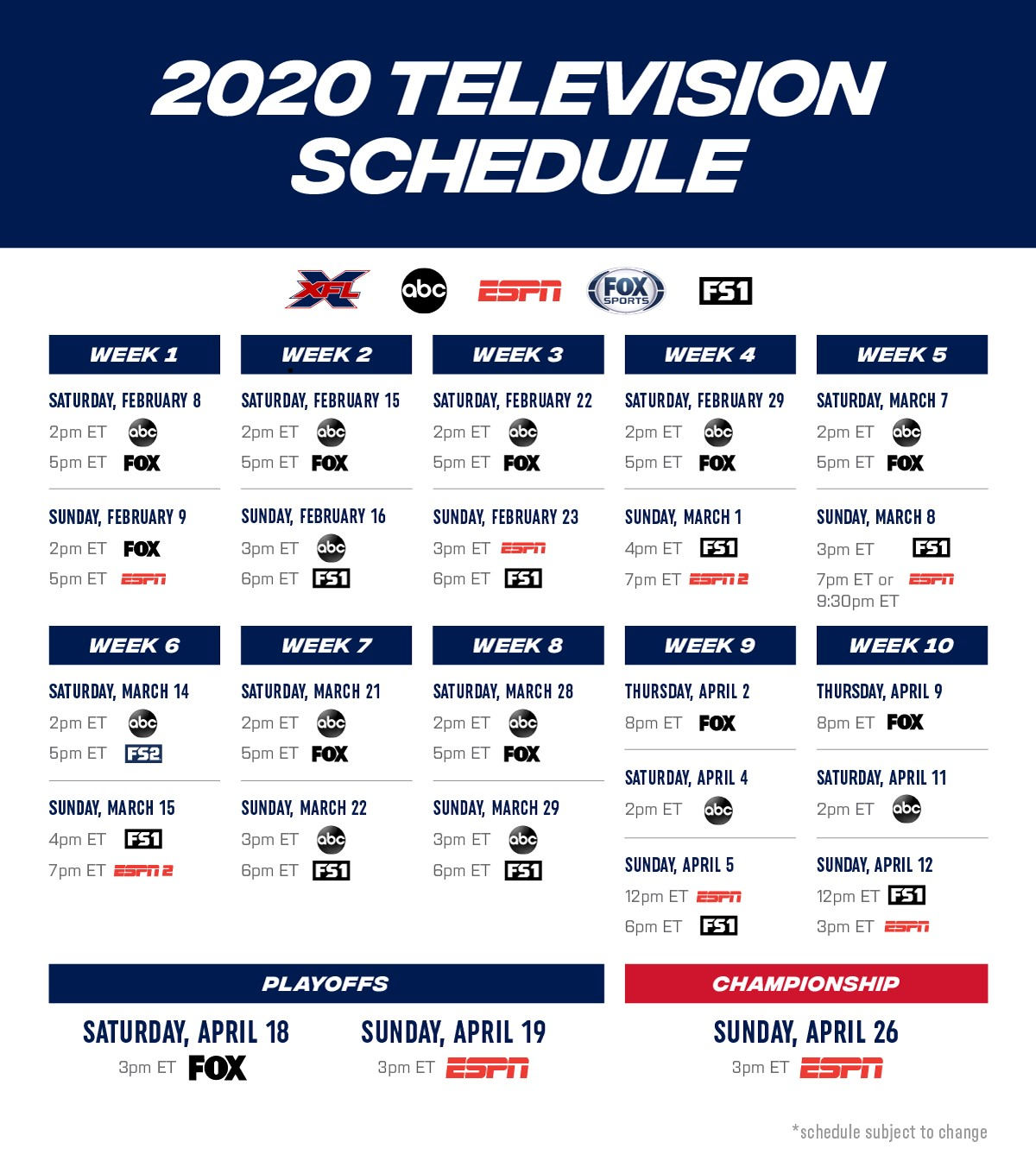 XFL Schedule Released: Broadcast Deals with Fox and ABC