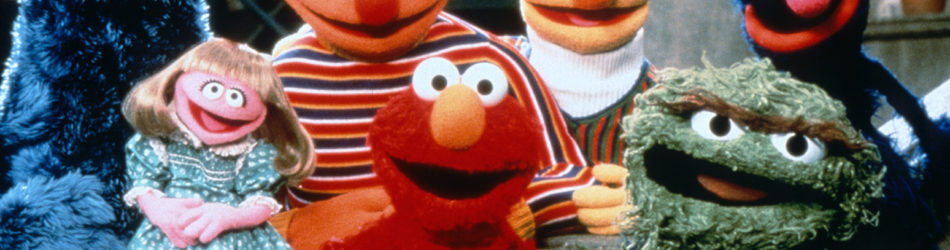 Sesame Street (PBS) 1969 to present Shown from left: Cookie Monster, Prarie Dawn, Ernie, Elmo, Bert, Oscar the Grouch, Grover
