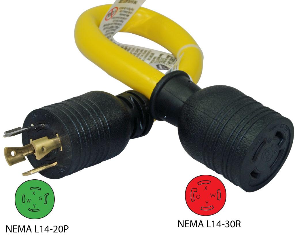 Conntek Pl L Nema L14 20p To L14 30r Pigtail Adapter