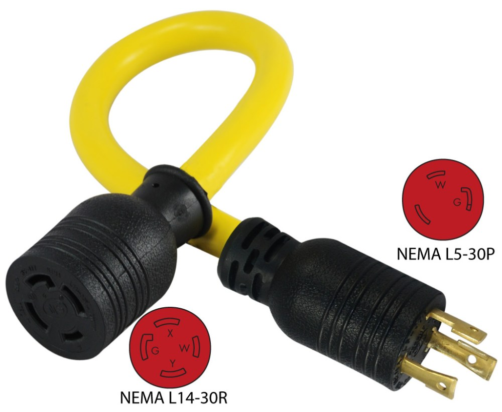 medium resolution of nema l5 30p to nema l14 30r pigtail adapter