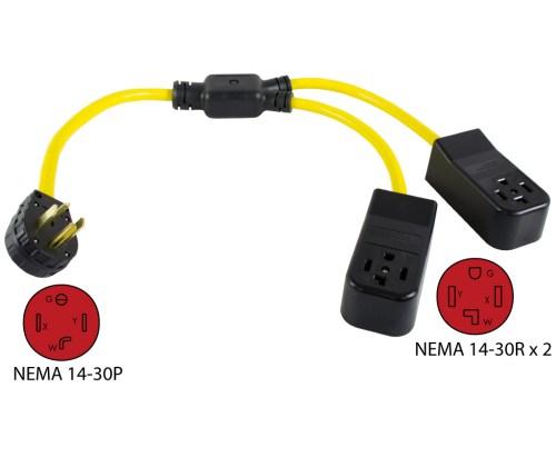 small resolution of nema 14 30p to 2 nema 14 30r y adapter