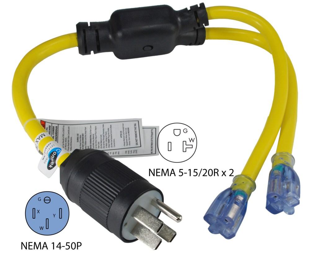 medium resolution of nema 14 50p to 2 nema 5 15 20r y