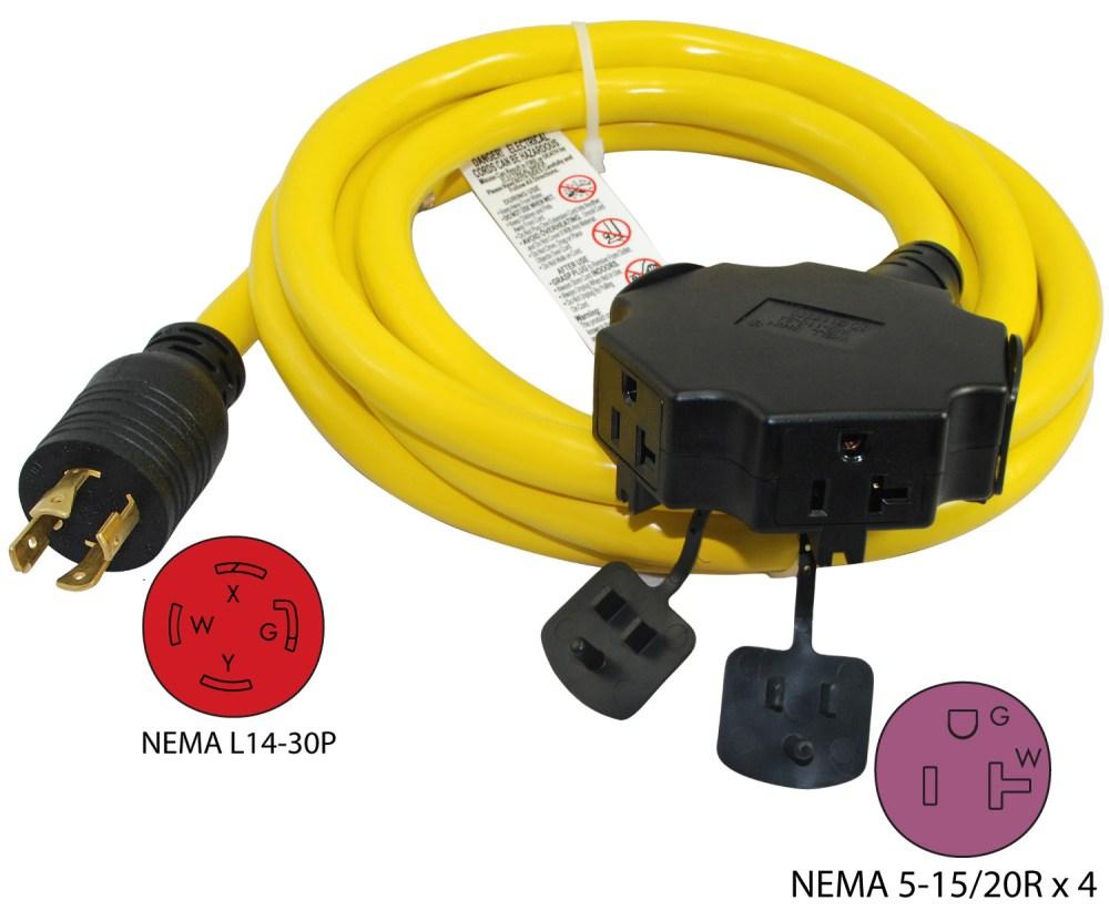 medium resolution of nema l14 30p to 4 nema 5 15 20r generator power