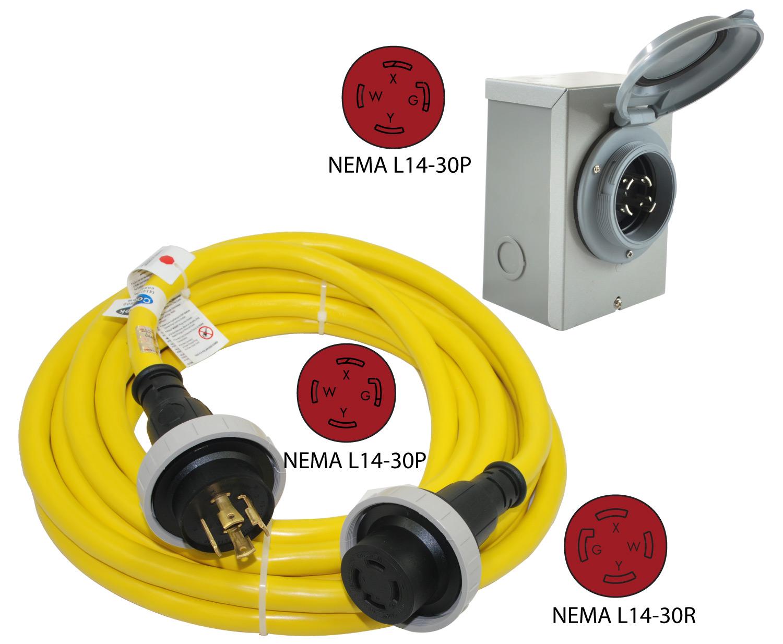 30 Amp Inlet Box Amp Cord Combo Nema L14 30