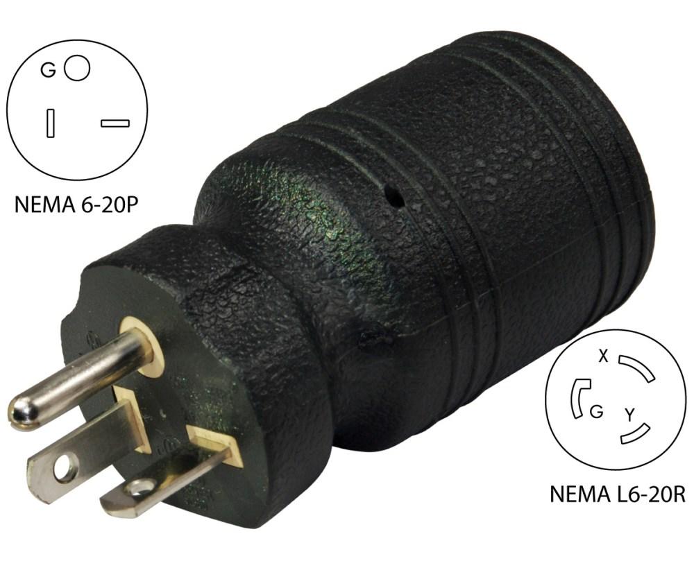 medium resolution of conntek 30113 nema 6 20p to l6 20r welder plug adapternema 6 20p male plug