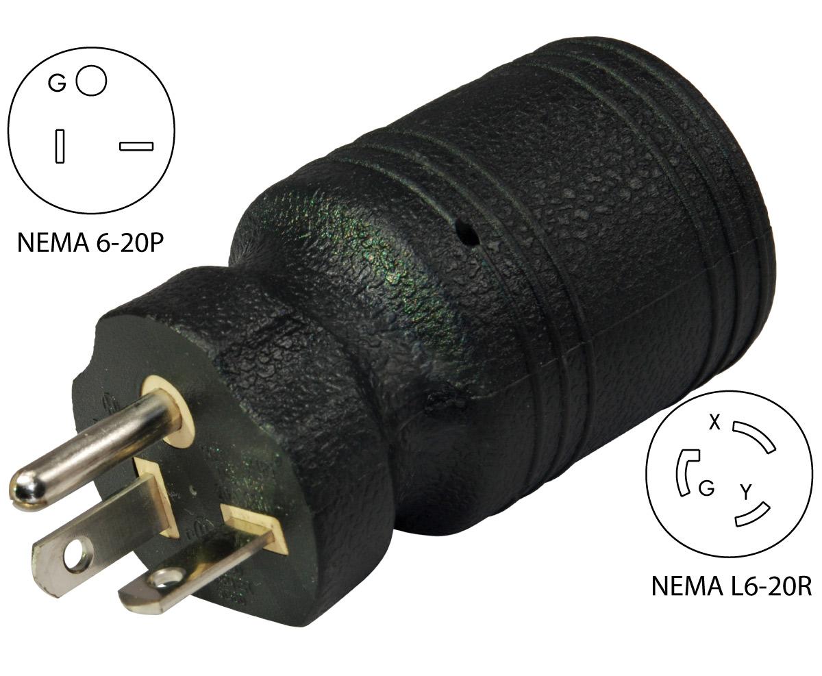 hight resolution of conntek 30113 nema 6 20p to l6 20r welder plug adapternema 6 20p male plug