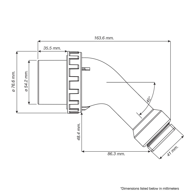 Conntek AS14-50R NEMA 14-50R 45° Down Angled Female Connector