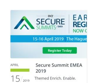 Client Alert: (ISC)² Secure Summit EMEA – 15-16 APRIL 2019, World Forum, The Hague