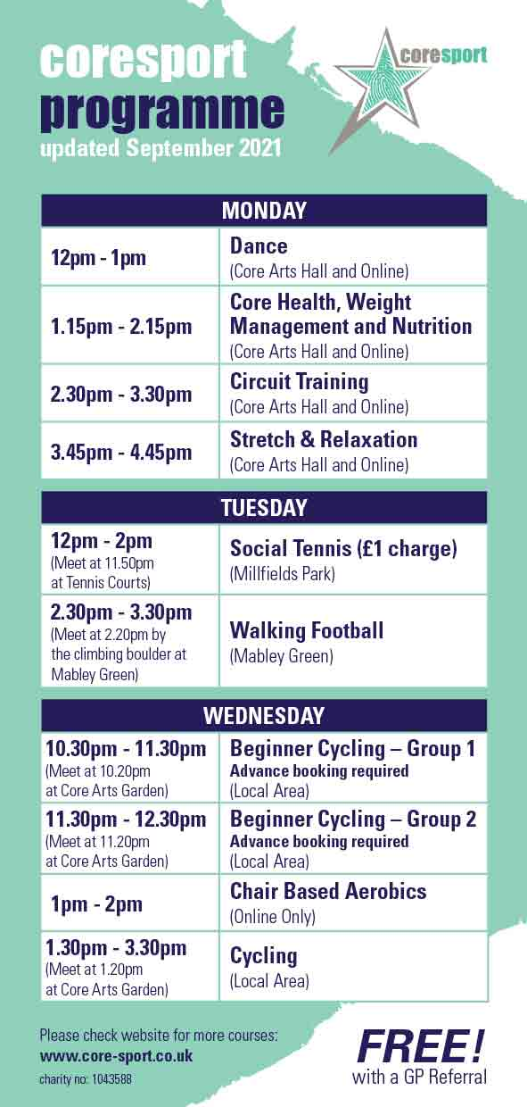 Core Sport Timetable Summer 2021